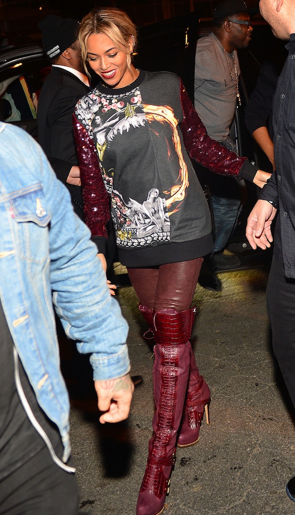 3-Beyonces-Club-Reign-Givenchy-Fall-2013-Sequin-Sleeved-Graphic-Sweatshirt-and-Christian-Dior-Fall-2011-Guetre-Alligator-Lace-Up-Thigh-High-Boots